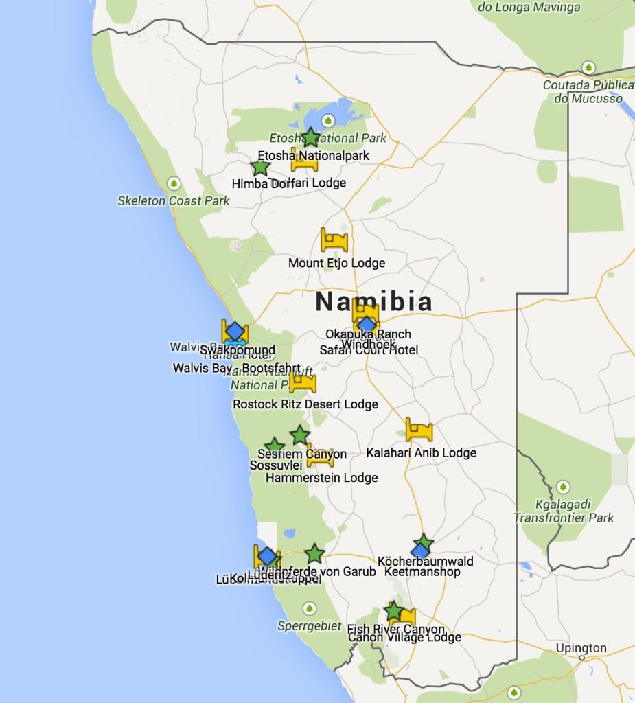 Namibia-Reise (Google Maps)